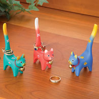 Three Colourful Cat Ring Holders