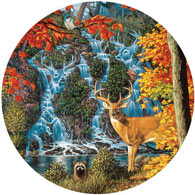 Afternoon At Sanctuary Falls 500 Piece Round Jigsaw Puzzle