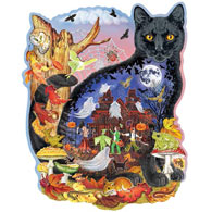 Black Cats Halloween Tale 750 Piece Shaped Jigsaw Puzzle