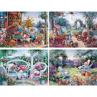 Set of 4: Barbara Mock 300 Large Piece Jigsaw Puzzles