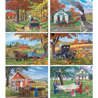 Set of 6: John Sloane 500 Piece Jigsaw Puzzles