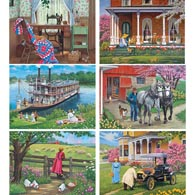 Set of 6: John Sloane 1000 Piece Jigsaw Puzzles