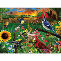 Sunflower Birds 300 Large Piece Jigsaw Puzzle