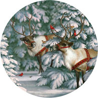 Reindeer And Feathered Friends 300 Large Piece Round Jigsaw Puzzle