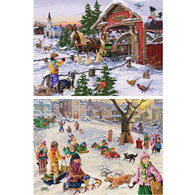 Set of 2 Pre-Boxed: 300 Large Piece Holiday Jigsaw Puzzles