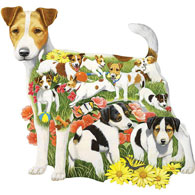 Romping Russells Dog Breed 750 Piece Shaped Jigsaw Puzzle