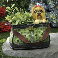 Terrier in Green Handbag Planter