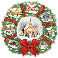 Christmas Village Wreath 300 Large Piece Jigsaw Puzzles