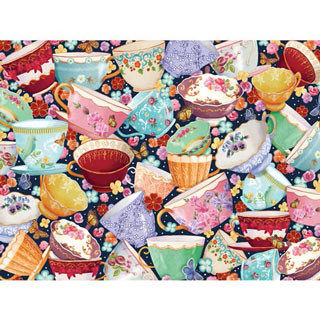 Teacups Collage 1000 Piece Jigsaw Puzzle