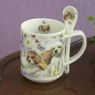 Puppy Mug With Spoon Set