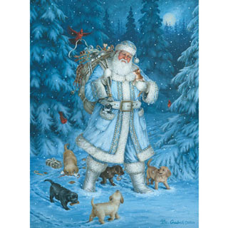 Santa's Winter Walk 300 Large Piece Glitter Effects Jigsaw Puzzle