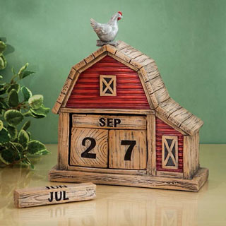 Country Barn Perpetual Decorative Desktop Calendar