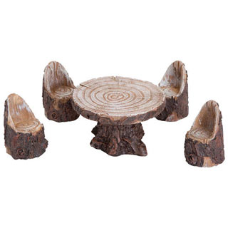 Miniature Log Table and Chairs