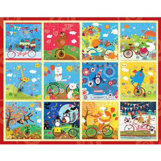 Critters Go For A Ride 100 Large Piece Jigsaw Puzzle