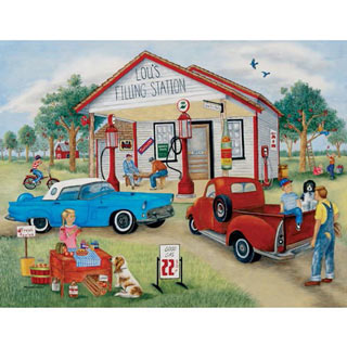 Lou's Filling Station 300 Large Piece Jigsaw Puzzle