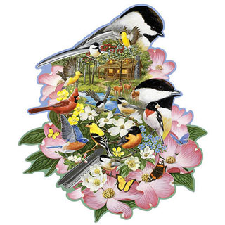 Woodland Chickadees 300 Large Piece Shaped Jigsaw Puzzle