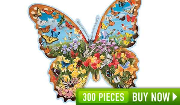 HIDDEN BUTTERFLY MEADOW 300 LARGE PIECE SHAPED JIGSAW PUZZLE