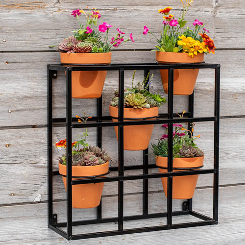 Potted Wall Display and 5 Plant Pots