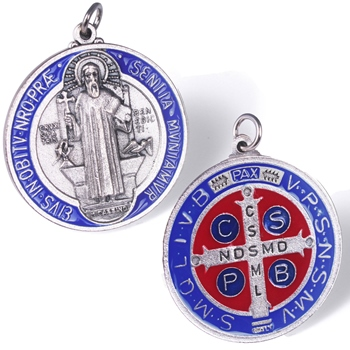 St. Benedict Door Medal (red & dark blue)
