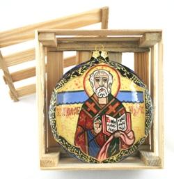 St. Nicholas Ceramic Ornament (blue stripe)