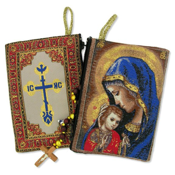 Madonna Caressing Christ Child Rosary Pouch (TIP5)