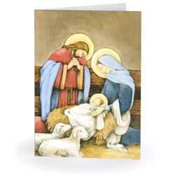 Holy Family in Stable with Lambs (box of 18)