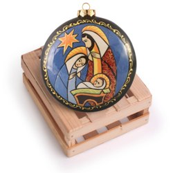 Stained Glass Holy Family Ceramic Ornament