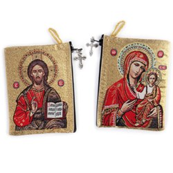 Virgin of Smolensk/Christ Teacher Rosary Pouch (TIP11)