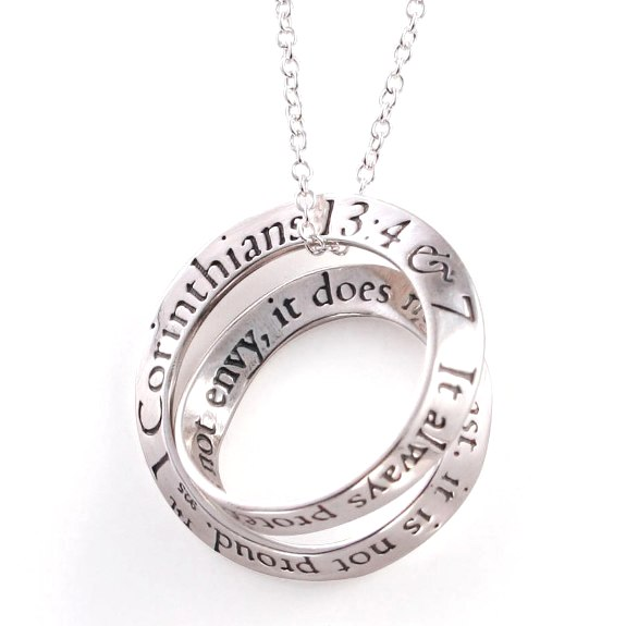 Love is Patient Double Mobius Necklace (silver)