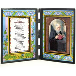 St. Benedict (glass diptych)