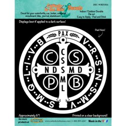 St. Benedict Medal Decal (white)
