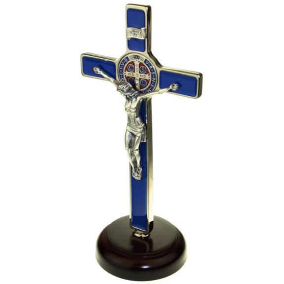 St. Benedict Standing Crucifix (blue enamel)
