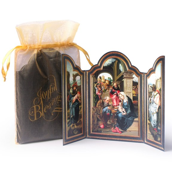 Joyful Blessings Tri-fold (12 cards in gold bag)