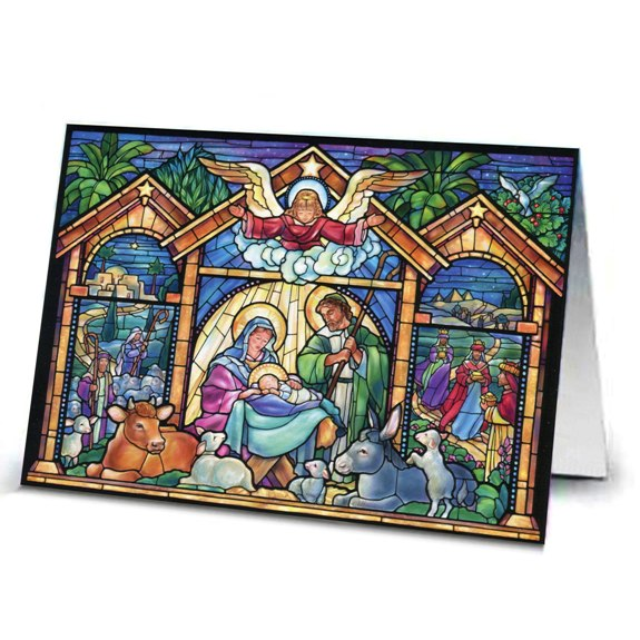 Stained Glass Nativity Christmas Cards (box of 15)