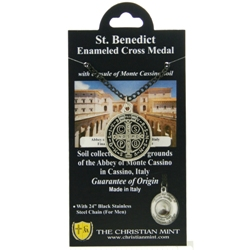 St. Benedict Medal with Monte Cassino Soil & Chain