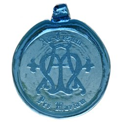 Ave Maria Blue Pressed Glass Suncatcher