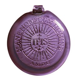 IHS Purple Pressed Glass Suncatcher