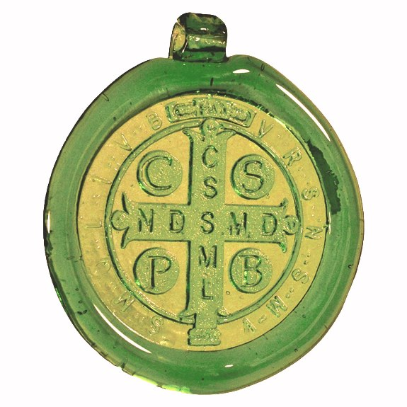 St. Benedict Green Pressed Glass Suncatcher