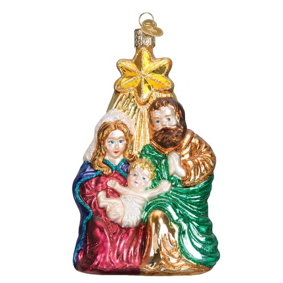 Holy Family Glass Christmas Ornament