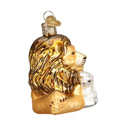 Lion & Lamb Glass Christmas Ornament