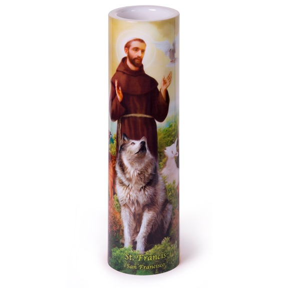 St. Francis LED Prayer Candle