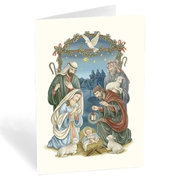 nativity under stars box of 20 - Nativity Christmas Cards