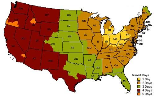 US transit time map
