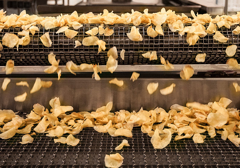 potato chips being made in small batches