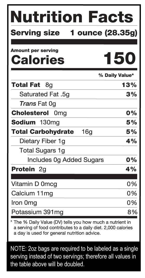 Barbeque Chips Case Nutrition Facts