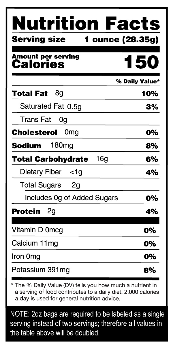 Chesapeake Crab Chips Case Nutrition Facts