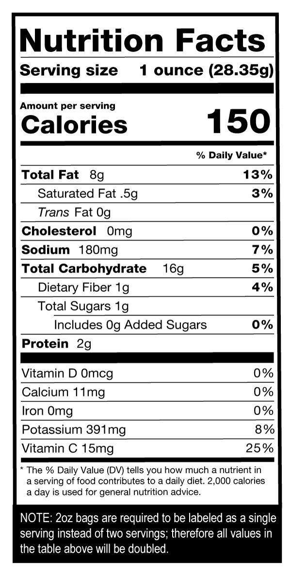 Salt N Vinegar Chips Case Nutrition Facts