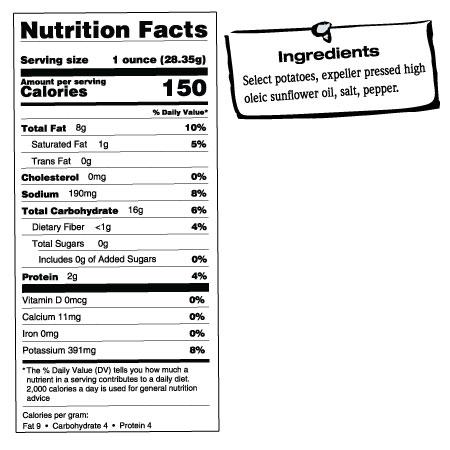 1.5LB Gold Tin of Salt & Pepper Chips Nutrition Facts