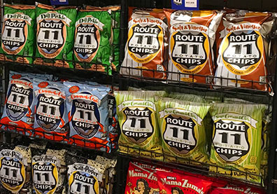 bags of Route 11 potato chips