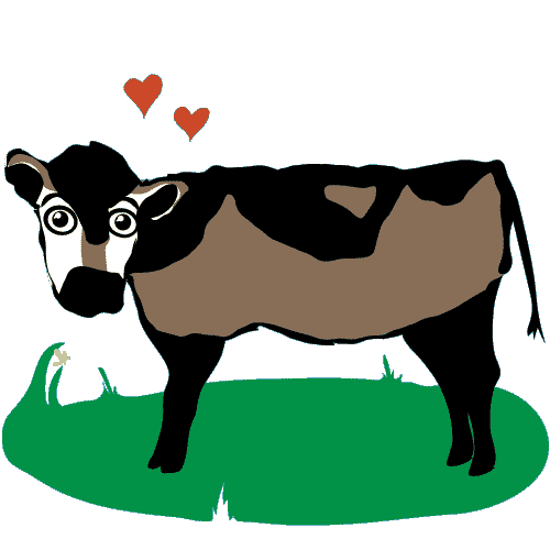 happy cow with hearts